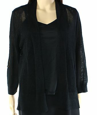 Alfani NEW Black Womens Size Small S Open-Front Pointelle Knit Cardigan $59 099