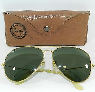 Vintage Men's RAY-BAN B&L Bausch & Lomb Gold Frame Aviator Sunglasses & Case
