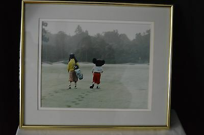 Mickey and Goofy Framed Disney Golf Photo Vintage NEW with Price Tag