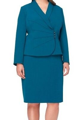 Tahari By ASL NEW Peacock Blue Womens Size 18 Crepe Button Skirt Suit $119 139