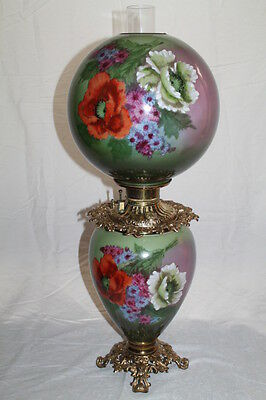 "Large (11"" Shade) Gone with the Wind Oil Lamp W/ POPPIES ( GWTW Banquet Lamp)"