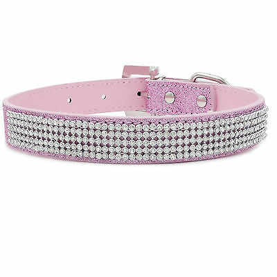 4Rows Pet Dog Cat Collar Diamante Bling Rhinestone Crystal Puppy Diamond Leather
