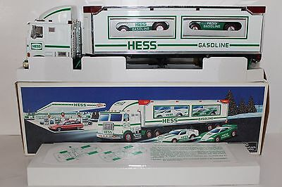 Near Mint 1997 Hess Toy Truck 18 Wheeler and Two Racers in Original Box Lights