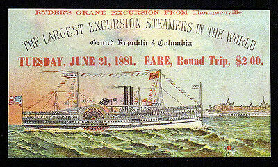 1881 Scarce EXCURSION STEAMERS GRAND REPUBLIC & COLUMBIA Trade Card Steamboat NR
