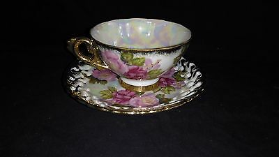 Royal Sealy China Pink Roses gold trim Teacup and saucer