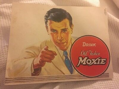 VINTAGE Drink Old Fashion Moxie Cardboard Store Display Advertising 019286 USA