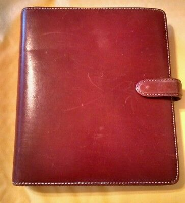 """FRANKLIN COVEY Organizer Binder 7 - 1"""" Rings - Red Leather - Classic Size"""