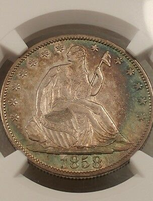 Ngc Xf45 Two Sided Toned 1858-O Seated Liberty Half Dollar Rainbow Colors!