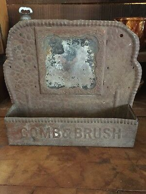 Antique Victorian Embossed Tin Comb and Brush Holder With Mirror Hang Display