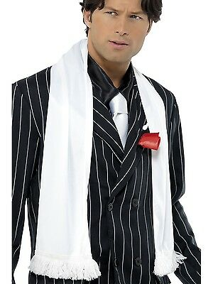 Costume Mens Gatsby 1920s Hollywood Gangster White Scarf with Tassels