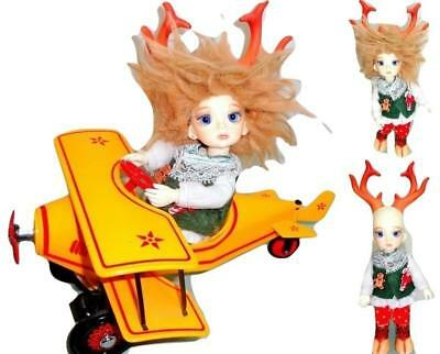 DollZone Deer Boy Resin Tiny BJD LE + Hallmark Kiddie Pedal Car Custom Bi-Plane