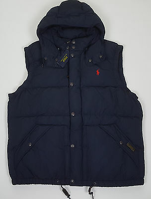 Polo Ralph Lauren Elmwood Down Hooded Vest Navy Blue Red $245.00 Nwt (Size 2Xl)