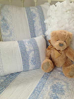 3 pce Baby Juliet Blue Cot Coverlet / Pillow Nursery Set French Provincial