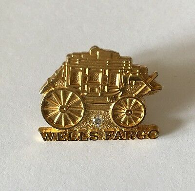 Wells Fargo Bank Recognition Pin Gold Over Sterling Silver, Diamond, Stagecoach