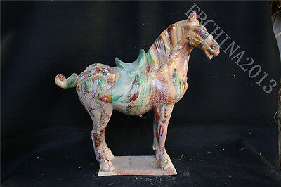 "17.4"" Collect Old China Ancient Porcelain Pottery Tang Sancai Horse Sculpture"