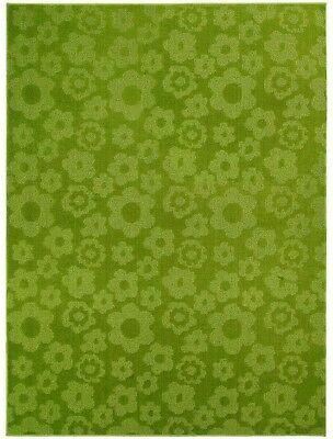 Garland Rug Flowers Lime 7 Ft 6 In. X 9 Ft 6 In. Bed Living Room Area Rug Decor