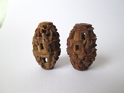 Antique Intricately Carved Beads Wood Nut Seed Ojime Chinese Oriental Japanese