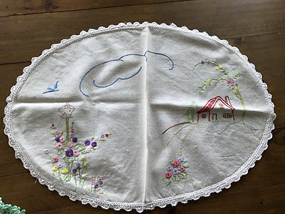 Vintage Large Embroidered Doilies,lot Of 6 Number One.