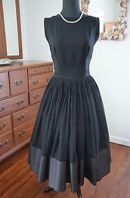 RARE! Vtg 50s Couture Designer LARRY ALDRICH Silk Chiffon Full Skirt Party Dress