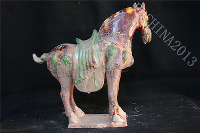 "17.6"" Collect Chinese Tang Sancai Porcelain Pottery Handmade Horse Sculpture"