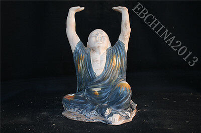 "12.8"" Collect Chinese Old Tang Sancai Porcelain Pottery Buddha Arhat Sculpture"
