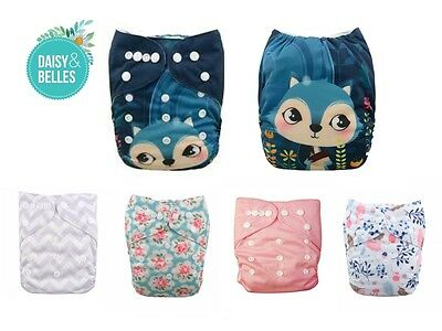 modern cloth nappies 5 ALVA pocket nappies + FREE 5 microfibre inserts