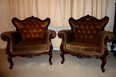 A Pair Of French Walnut Framed Antique Armchairs