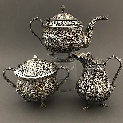 EXCEPTIONAL RARE Antique Indian Solid Silver Tea Set Service - c1890 - Kashmir