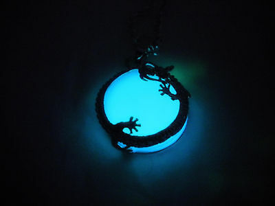 Glow in the Dark Dragon Pendant - Dragon Moon - Glowing Dragon