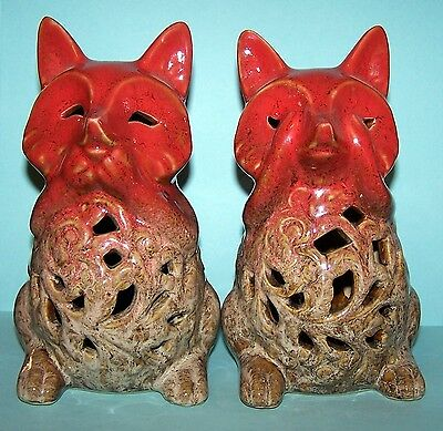 HD Designs - PAIR OF ADORABLE DECORATIVE CERAMIC FOXES! - EXCELLENT CONDITION!