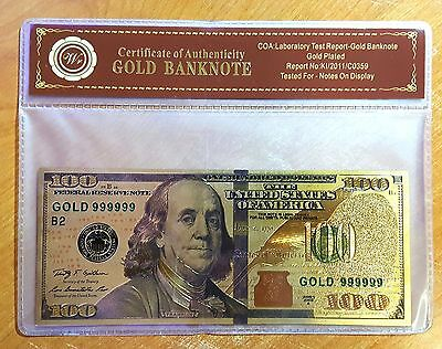 24K .999 Gold NEW SERIES $100 Dollar Banknote with COA (Cert of Authenticity)