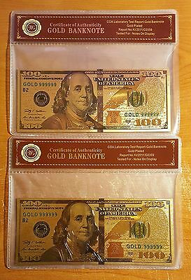 2PK of 24K .999 Gold NEW SERIES $100 Dollar Banknote with Cert of Authenticity