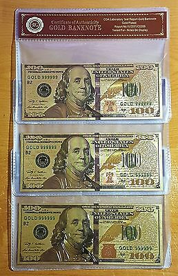 3PK of 24K .999 Gold NEW SERIES $100 Dollar Banknote with Cert of Authenticity