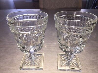 VINTAGE Wine Water  - INDIANA GLASS PARK LANE CLEAR by COLONY - Set of 2