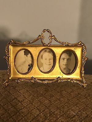 Miniature ANTIQUE STAMPED Gilded BRASS PICTURE FRAME FOR  3 PORTRAITS