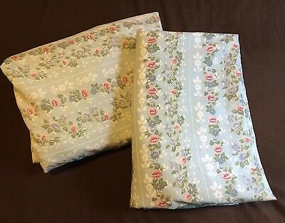 Jessica McClintock Blue Rose Twin Flat Fitted Sheets Floral Lace Cutter Fabric