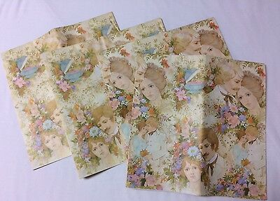 Vintage Bridal Wrap Paper 4 Sheets 30x20 Each Unused Folded Wedding Shower Gifts