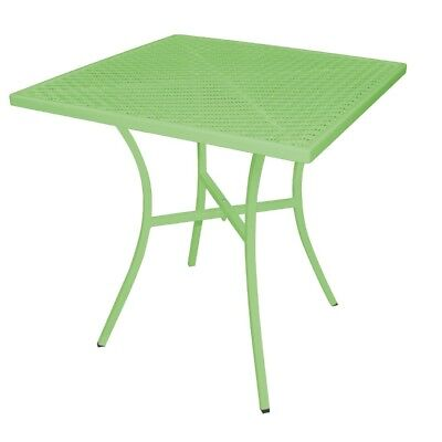 Bolero Green Steel Patterned Square Bistro Table 700mm Cafe Furniture