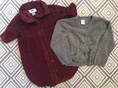 Old Navy Mixed Lot Girls 2T Clothes Corduroy Dress And Cardigan