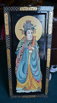 Vintage Black Lacquer Asian Chinese Painting Empress