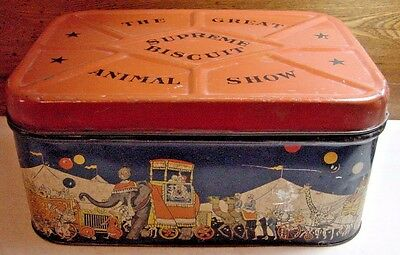 Vintage Supreme Biscuit Tin-Hinged Lid-Circus Graphics-Great Animal Show