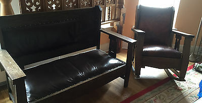 Antique Mission Arts & Crafts settle and rocker in Chicago