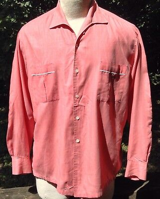 Vtg 50s Hillcrest Shirt LS Salmon LS LOOP COLLAR Button Front Thin FLAWS Sz L