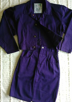 VTG 80's Club Acapulco Cropped Jacket + Mini Pencil Skirt Set Purple Cotton SZ S
