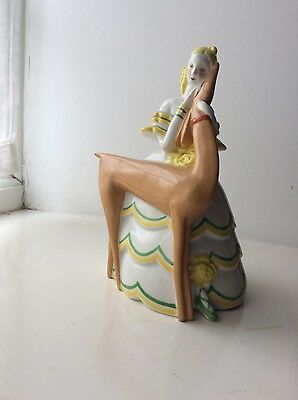 la maitrise dufrene french cubist art deco ceramic porcelain lady deer veilleuse