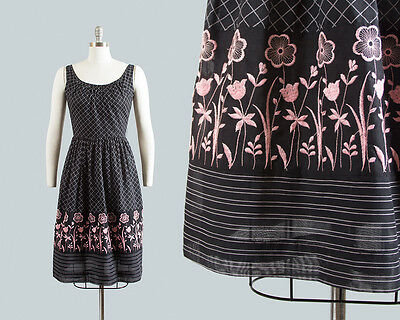 Vintage 1950s 1960s Sundress 50s 60s Black Floral Embroidered Border Print Dress