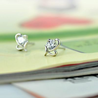 New Crystal Lovely HOT Fashion Small Heart Shape Silver Plated Earrings Stud