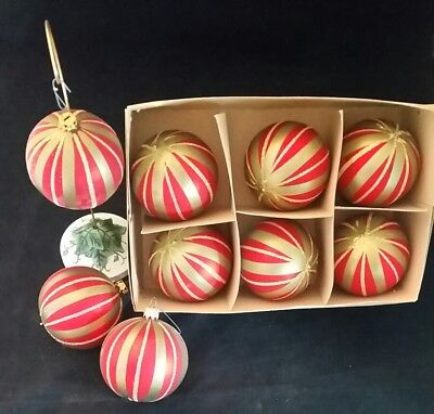 Vintage Mercury Glass Christmas Ornaments LOT of 9 Red Gold Glitter Hand Painted