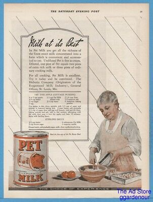 1922 Pet Milk Helvetia Co St Louis MO Apple Cottage Pudding Recipe Baking Ad