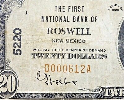 Rare! 1929 $20 National Currency Note – The FNB of Roswell, NM - Charter # 5220.